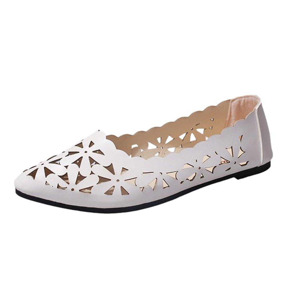 Sentaoa Mocassins Femmes en en PU Cuir Chaussures Casuel Confort Femmes Chaussures Plates Loafers Chaussures de Conduite Respirant Bateau Chaussures Sandale Blanc 22d8c97 - jessicalock.space