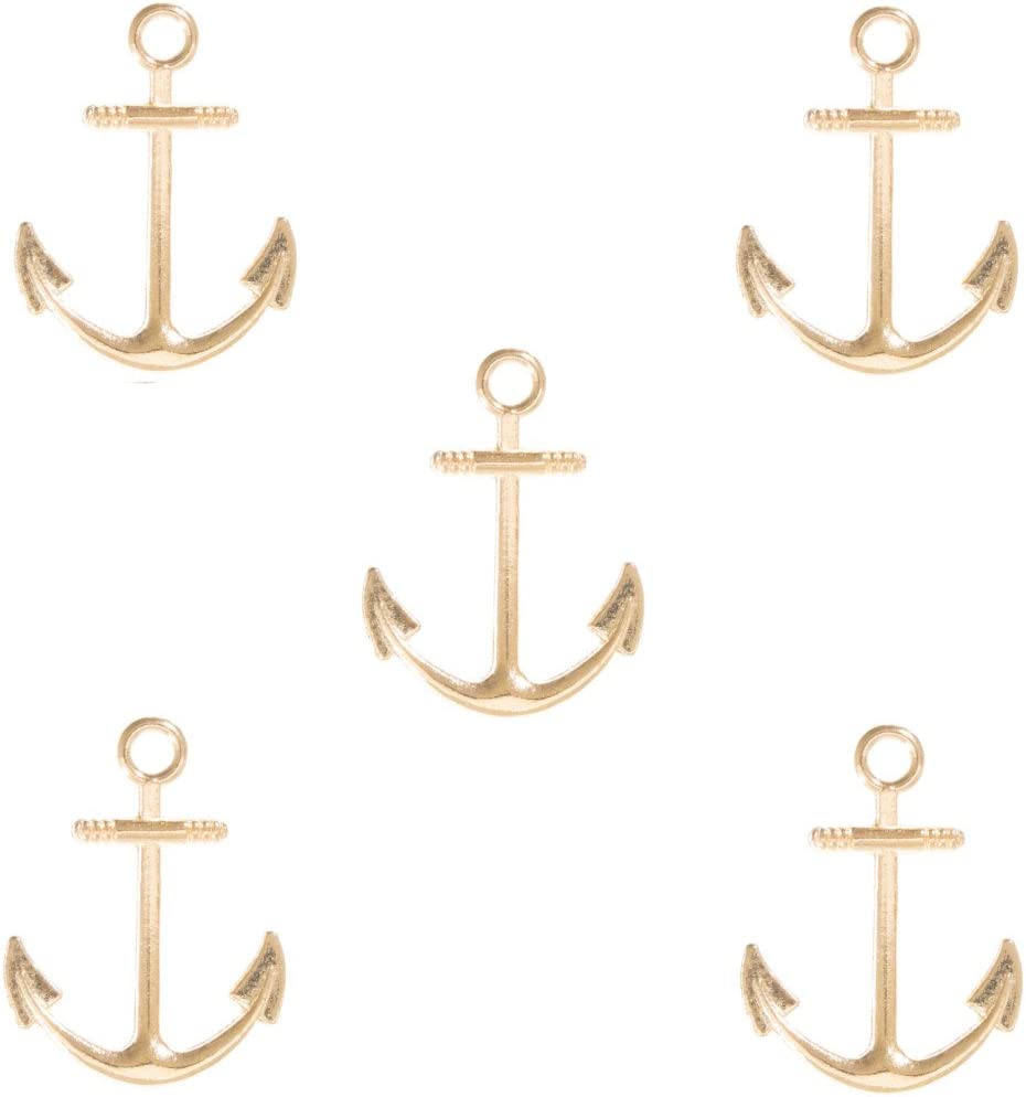 West Coast Paracord Anchor and Fish Hook Pendants for Beading and Jewelry Making 5 Pack, Anchor, Bronze