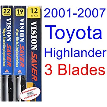 2001-2007 Toyota Highlander Replacement Wiper Blade Set/Kit (Set of 3 Blades) (Saver Automotive Products-Vision Saver) (2002,2003,2004,2005,2006)