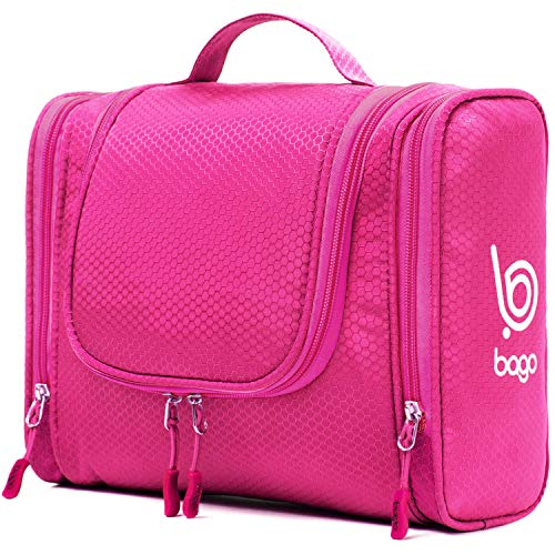 Bago Hanging Toiletry Bag For Women & Men - Travel Bags for Toiletries | Leak Proof | Hanging Hook | Inner Organization to Keep Items From Moving - Pack Like a PRO (Pink) ()