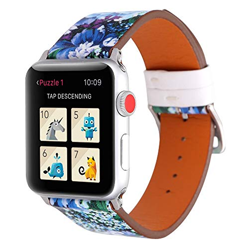 Sunbona for Apple Smart Watch 1/2 Bracelet Strap 38mm, Genuine Leather Floral Pattern Sports Adjustable Replacement Bangle Wrist Band Men Women Accessories Gifts (G)