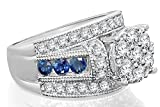 Image of 10K White Gold 3.26 Carat Real Diamond & Sapphire Engagement Wedding Bridal Ring