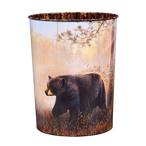 - Black Forest Décor Black Bear Scene Tin Waste Basket