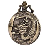 SIBOSUN Mens Ancient Chinese Dragon Vintage Pocket Watch Quartz Bronze Zodiac Chain Box Arabic Numerals