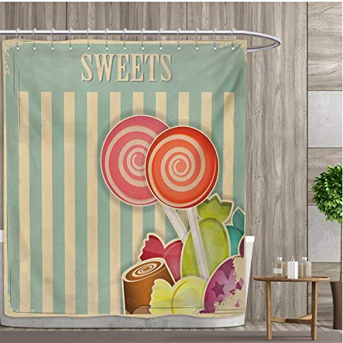 smallfly Vintage Custom Made Shower Curtain Retro Old Candy Store Chocolates Lollipops with White Stripes on Baby Blue Backdrop Shower Curtains 3D Digital Printing 108