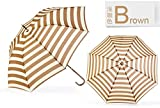 Brown Ultraviolet-Proof Umbrella Long Handle Rain Umbrella Brown Navy Stripe Dome
