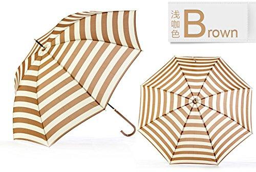 Brown Ultraviolet-Proof Umbrella Long Handle Rain Umbrella Brown Navy Stripe Dome by Umbrella Compact