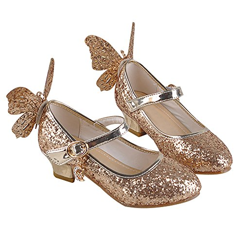 Princesse Volant Ans Enfants Sandales Fille Cuir En 4 Chaussures Haut Papillon Paillette Brinny 13 Velcro À Talon Px8q44Zw