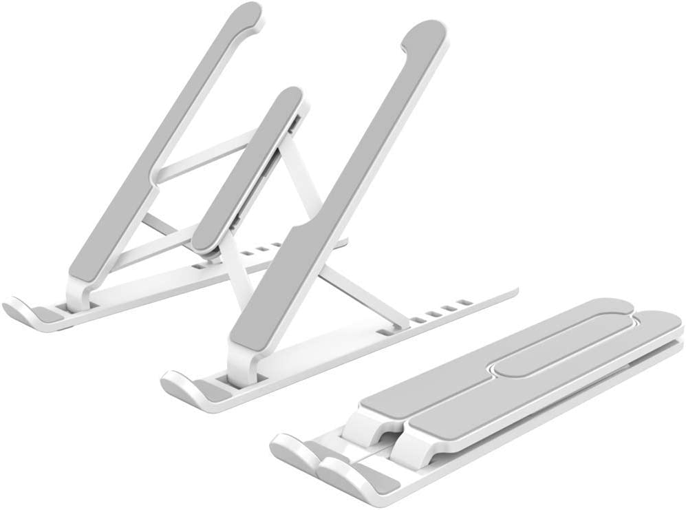 Mr. Eleven Foldable Laptop Stand, Lightweight Adjustable Notebook Holder Compatible for Apple MacBook Air/Pro iPad Microsoft Surface Razer Chromebook Samsung HP Dell Lenovo ASUS Acer MSI LG (White)