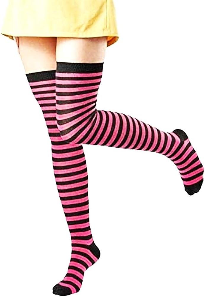 cotone Idea Regalo originale calze autoreggenti Inception Pro Infinite Parigine a righe colorate nero e fuxia