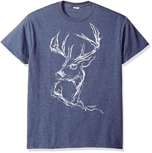 Lost Creek Men's Buck Deer Graphic Short Sleeve T-Shirt, Heather Navy -