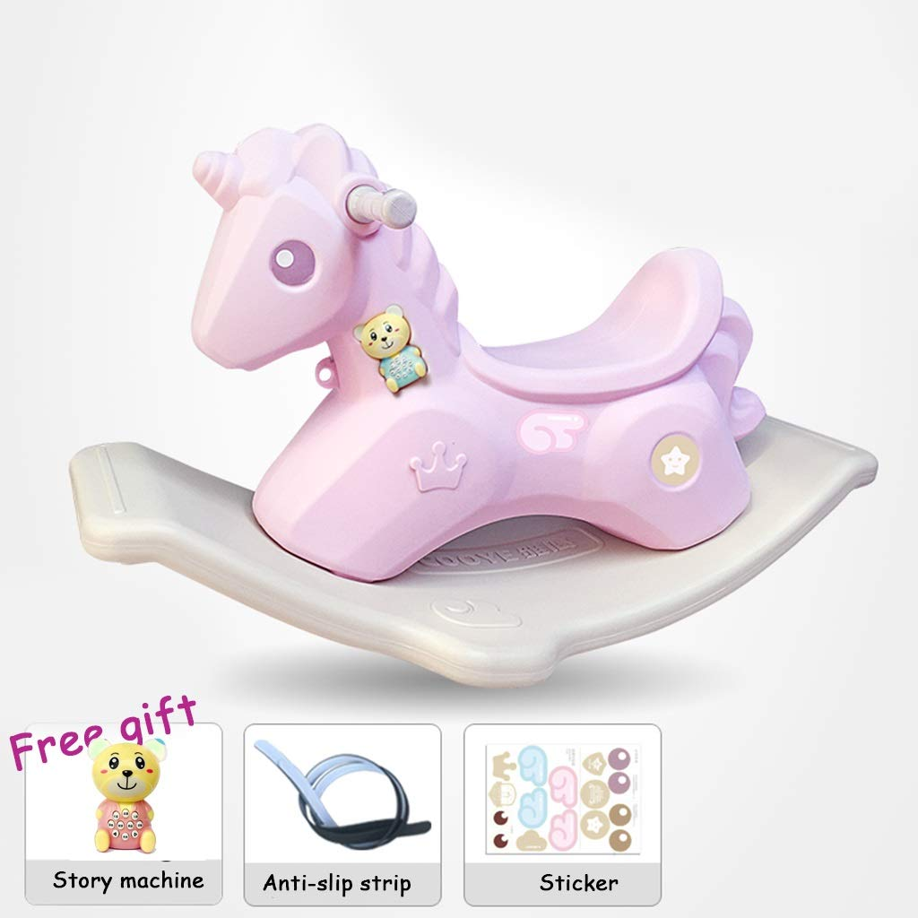 PINK A Friendship Shop- Baby Plastic Rocking Chair, Thickened Large Rocking Horse - Many (color   Pink, Size   C)