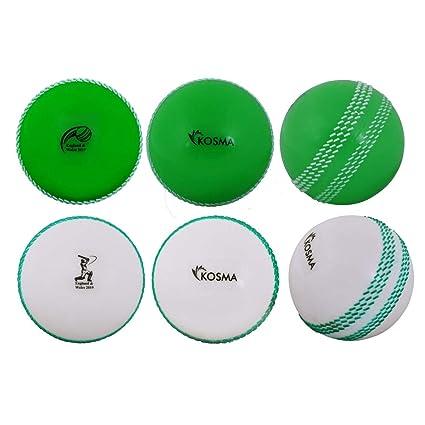 Kosma World Cup England /& Wales 2019 Windball-/Übungs-Cricketball Sport /& Freizeit 6er Pack Weiche Trainingsb/älle Farbe: 3er Gr/ün mit wei/ßer Naht /& 3er Wei/ß mit gr/üner Naht