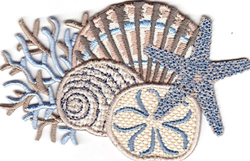 (SEASHELL COLLAGE - STARFISH - CORAL - BEACH - OCEAN - IRON ON EMBROIDERED PATCH)