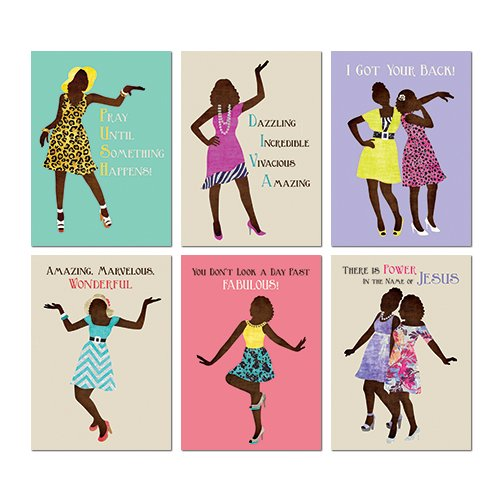 "Search : African American Expressions - Sister Friends All Occasion Boxed Cards Assortment #6 (Box of 12 cards, 5"" x 7"") AOAB-660"
