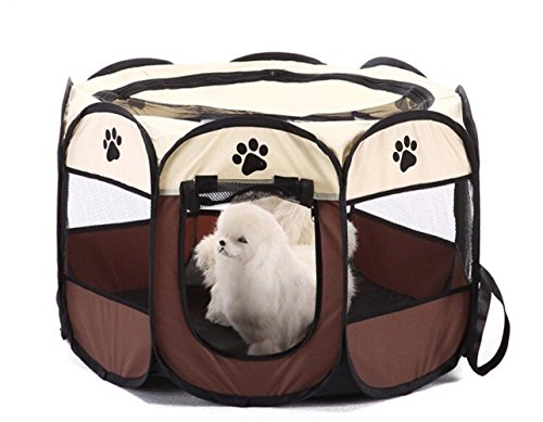 SMAIGE Portable Foldable Pet Playpen - Canvas 8-Panel Folding Exercise Yard Fence for Pets | Dogs/Cats/Rabbit | Indoor/Outdoor use (27.6