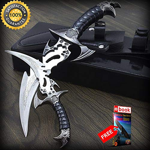 2 PIECE DRACO CLAW TWIN DAGGER FANTASY SHARP KNIFE SET with SHEATH Stainless Steel Combat Tactical Knife + eBOOK by Moon Knives ()
