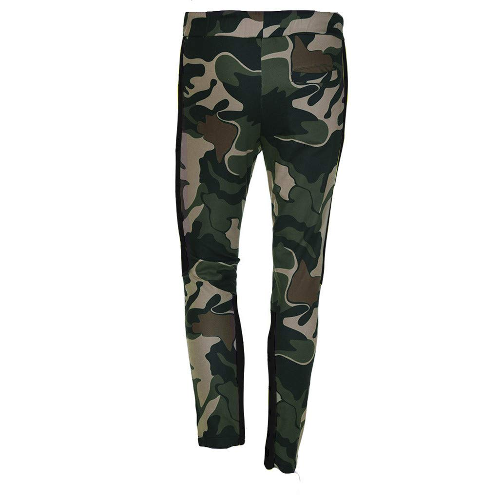 Shybuy Men's Stitching Camouflage Training Sports Trousers (M, Army Green)