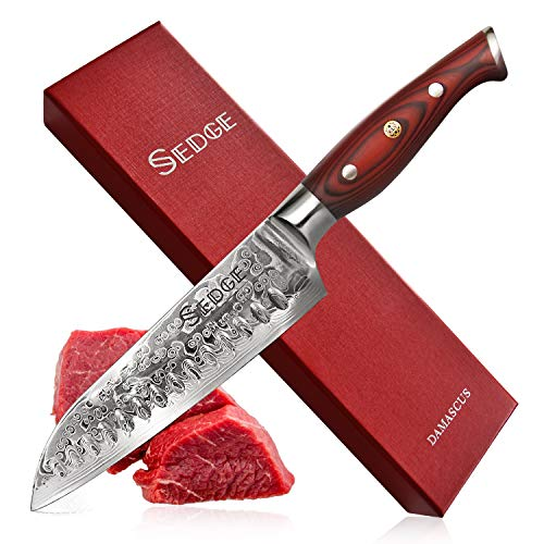 Sedge Japanese Santoku Knife 7 Inch with Hollow Edge - Japanese Damascus AUS-10V High Carbon Steel with Non-Slip Ergonomic G10 Handle with Gifted Box - SD-S Series 7' Hollow Edge Santoku Knife