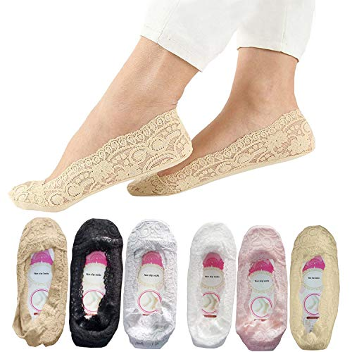 6 Pairs Lace socks for women SNUG STAR Fashion Liner No Show Socks Lace Non Slip Socks Womens Thin Low Cut Casual