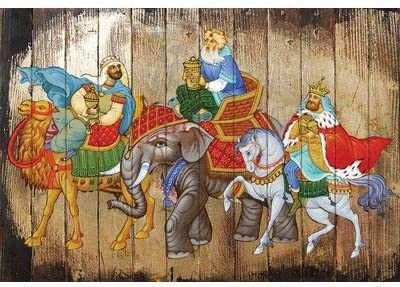 G. Debrekht Wooden Board Art, 12 x 16, Three Kings
