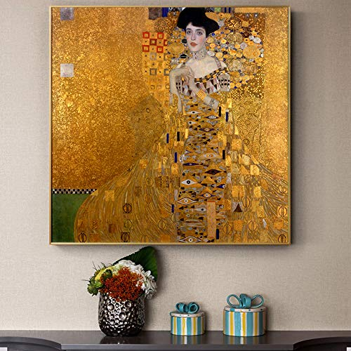 Karen Max Giclee Prints Gustav Klimt Kiss Paintings Replica On The Wall Portrait of Adele Bloch Golden Classical Wall Art Canvas Picture for Living Room New Home Gifts Frameless