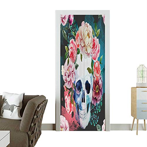 Homesonne Decorative Door Decal Flowers and Skull Skelets All Saints Halloween Stick The Picture on The doorW23.6 x H78.7 INCH -