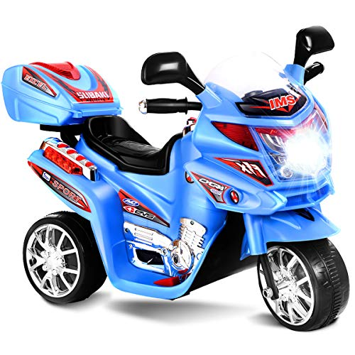 Costzon Ride On Motorcycle, 6V Battery Powered 3 Wheels Electric Bicycle, Ride On Vehicle with Music, Horn, Headlights (Blue)