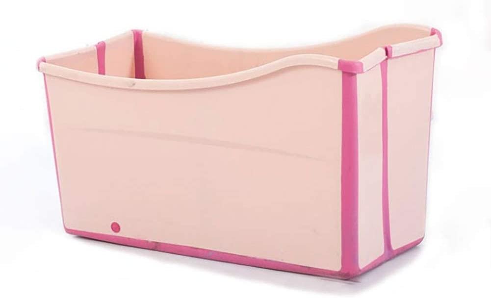 Gweat Kids Portable Folding Bathtub Swimming Pool Large Freestanding Corner Bathtub Bath Bucket for Adult Elder SPA Heightening,Long Insulation Time with Cover Pink Blue Color Pink