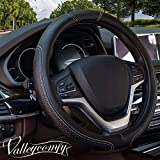 "Valleycomfy Steering Wheel Covers Universal 15 inch - Genuine Leather, Breathable, Anti Slip & Odor Free (15"" Leather-05D, Black with White Lines)"