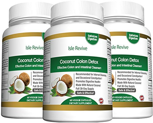 Coconut Colon Detox Cleanse for Weight Loss - with Aloe Psyllium Husk Flax Seed Licorice Root Ginger Best All Natural Healthy Digestive Laxative Constipation Cleanser - 3 Bottles 60 Capsules by Isle Revive