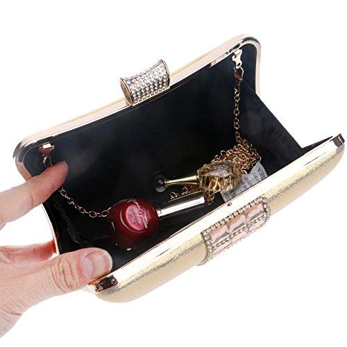 Clutch Sac Soirée à Bal Main Pochette pour Fête Maquillage Bandouliere Black Femmes Bourse Sac Mariage Chaîne Cx1awxqRP