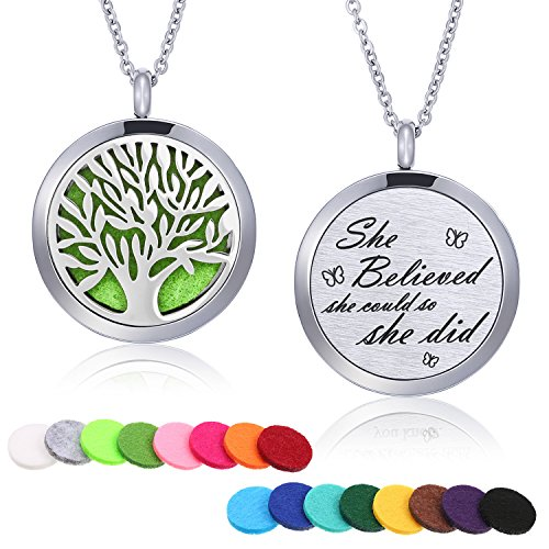 TOODOO Aromatherapy Essential Oil Diffuser Necklace Stainless Steel Engraved Pendant Locket Jewelry 24 Inch Adjustable Chain, 16 Refill Pads (Tree A) ()