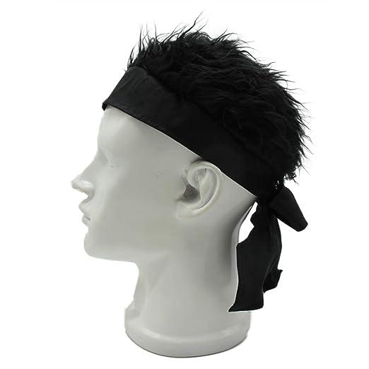 Flair Hair Sun Visor Cap with Fake Hair Wig Baseball Cap Hat (Black ... 79b71ab9f7a7