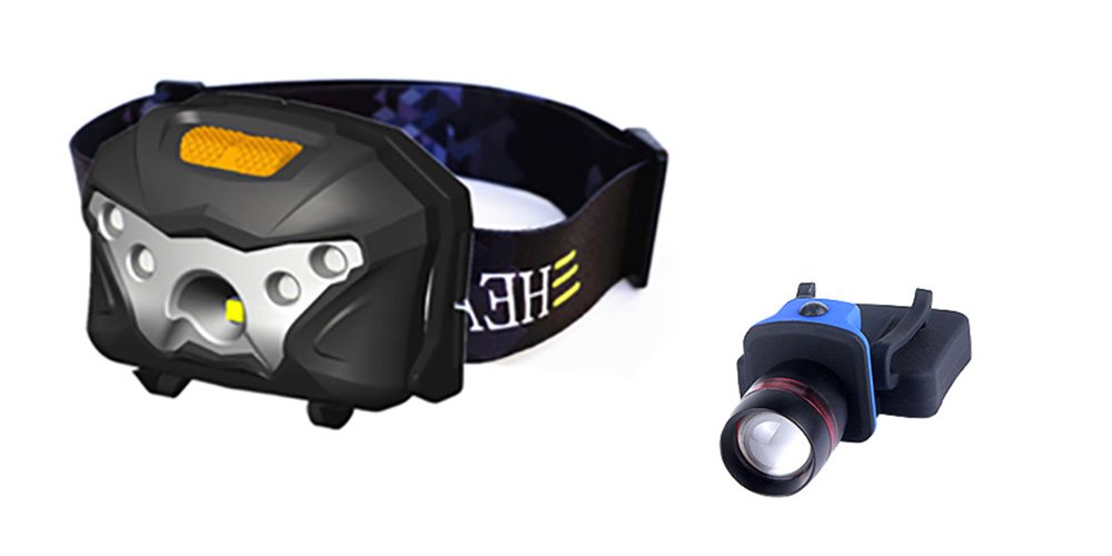 GlowMax Motion Sensor Headlamp 3W CREE XPE LED + 2 Red LED, USB Rechargeable Cell Max Li-Ion Battery and BONUS Hands-Free Hat Clip Work Light
