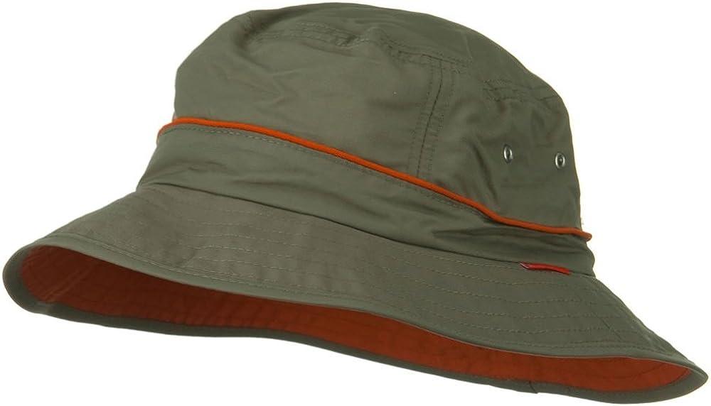 Khaki UV 50 Orange Piping Talson Sun Bucket Hat One Size
