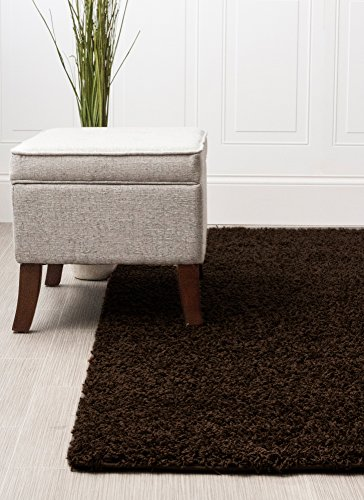 (Super Area Rugs 8x10 Brown Shag Rug For Open Spaces and Living Rooms Solid Colored Stain-Resitant Carpet)