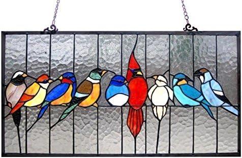 ティファニースタイルStained Glass Family鳥ウィンドウパネル