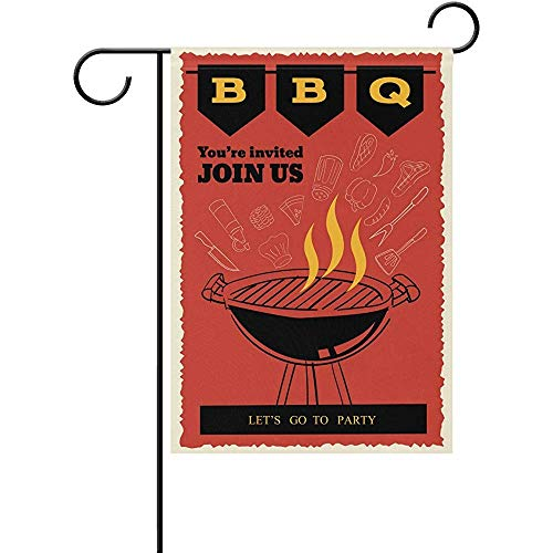 Yunnstrou BBQ Party Invitation Flyer Doodle Garden Flag 12x18 inch,Home Polyester Fabric Mildew Resistant Custom Waterproof -