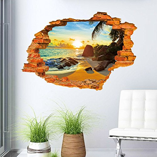 (U-Shark 3D Self-Adhesive Removable Break Through The Wall Vinyl Wall Sticker/Mural Art Decals Decorator (8001C Sunny Beach(23.6