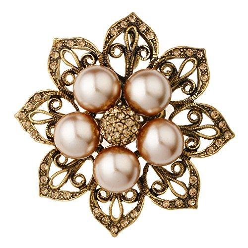 YAZILIND joyas clásicas hueco flor forma rhinestone imitación broche de perlas mujeres PIN