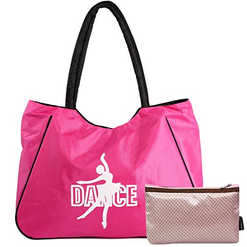 kilofly Girl's Water Resistant Ballet Dance Shoulder Bag Handbag + Beauty Pouch (Ballet Bags For Teens)