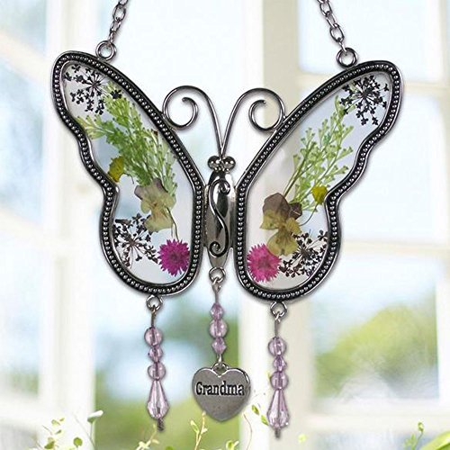 Smart LIfe Helper Grandma Butterfly Suncatcher Wind Chime with Pressed Flower Wings Embedded in Glass with Metal Trim Grandma Heart Charm - Gifts for Grandma