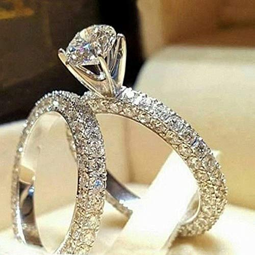 Endicot Women 925 Silver White Topaz Ring Set Wedding Engagement Gift Jewelry Size 6-10 | Model RNG - 18140 | -