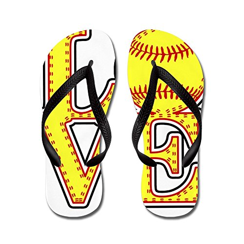 81ece5c5a1bf CafePress Love Softball Stitch Print Flip Flops Funny Thong Sandals ...