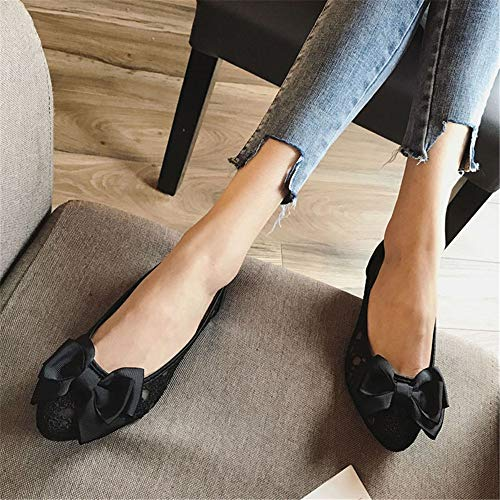 ladies shoes pointed 40 work sweet FLYRCX sandals EU office flat shoes bow mesh flat Fashion xq0aIgwza