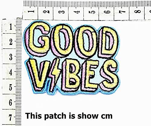 Good Vibes Funny Words Cartoon Chidren Kids Embroidren Iron Patch/Logo Sew On Patch Clothes Bag T-Shirt Jeans Biker Badge Applique