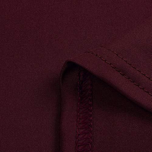 Sexy Rouge Sixcup Femmes Shirt Manches Bandage Vin Chemise T en Longues Haut V Chemisier Blouses Tops Col Transparent Dentelle pour en dSRvxS