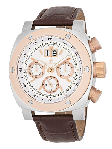 Burgmeister Men's Quartz Stainless Steel and Leather Casual Watch, Color:Brown (Model: BM348-315)