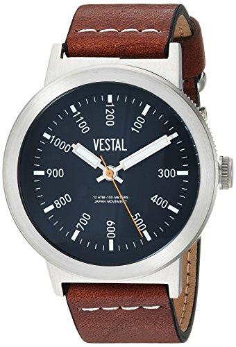 Vestal Men's 'Retrofocus' Quartz Stainless Steel and Leather Casual Watch, Color:Brown (Model: SLR443L01.LBWH)